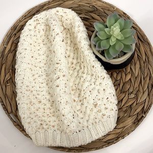 EXPRESS Slouchy Beanie Ivory Metallic Rose Foil